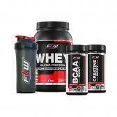 Combo Econômico Wpb Ftw Fitoway (Whey Chocolate 900G + Bcaa Best 120Cáps + Creatina Best 100G + Coqueteleira) - Mkp000525003276