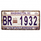 Placa Carro Antiga Decorativa Washington Dc Lorben Gt414-46 - Mkp000301000890