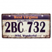 Placa Carro Antiga Decorativa West Virginia Lorben Gt414-47 - Mkp000301000891