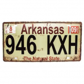 Placa De Carro Antiga Decorativa Arkansas Lorben Gt414-21 - Mkp000301000900
