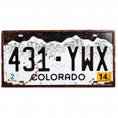 Placa De Carro Antiga Decorativa Colorado Lorben Gt414-3 - Mkp000301000893