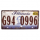 Placa De Carro Antiga Decorativa Illinois Lorben Gt414-25 - Mkp000301000881
