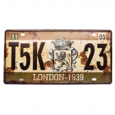 Placa De Carro Antiga Decorativa London Lorben Gt414-30 - Mkp000301000887