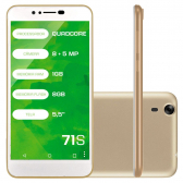 Smartphone Mirage 71S Dual Chip 3G Ram 1Gb Quad Core Tela 5.5´´ Dual Camera 8Mp+5Mp Android 5.1 Dourado 1002 Mkp000278002705